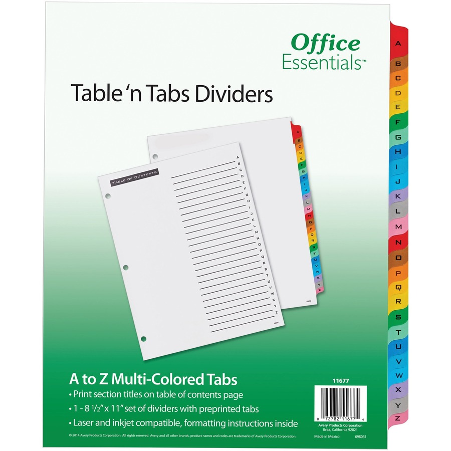 Avery Office Essentials Table N Tabs Dividers