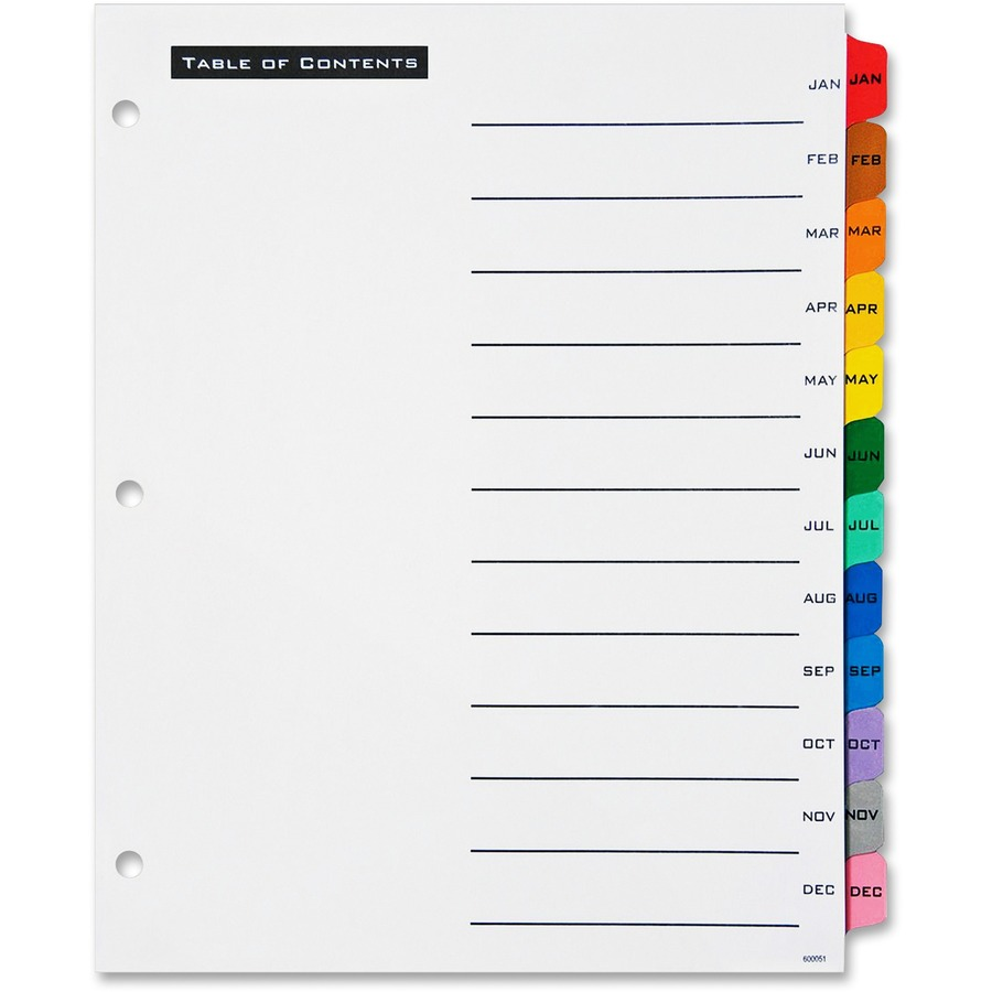 ave11679 avery table 39n tabs monthly dividers office With avery monthly tab dividers