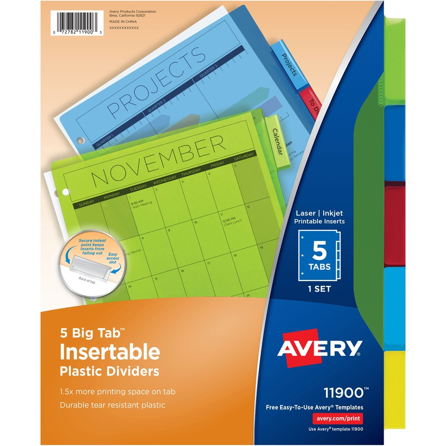 Avery big tab plastic insertable divider ave11900 for Avery big tab inserts for dividers 8 tab template