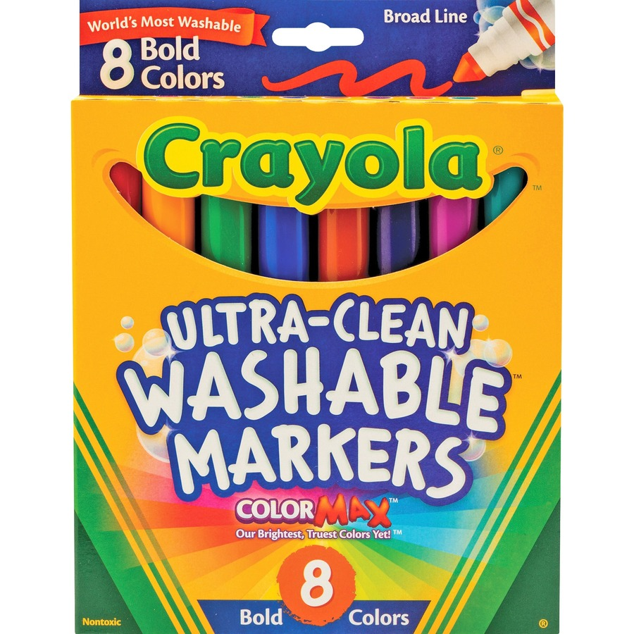 Crayola Washable Bold Colors Broad Line Markers Marker Point Orted Golden Yellow Teal Emerald Azure Plum Raspberry 8 Set
