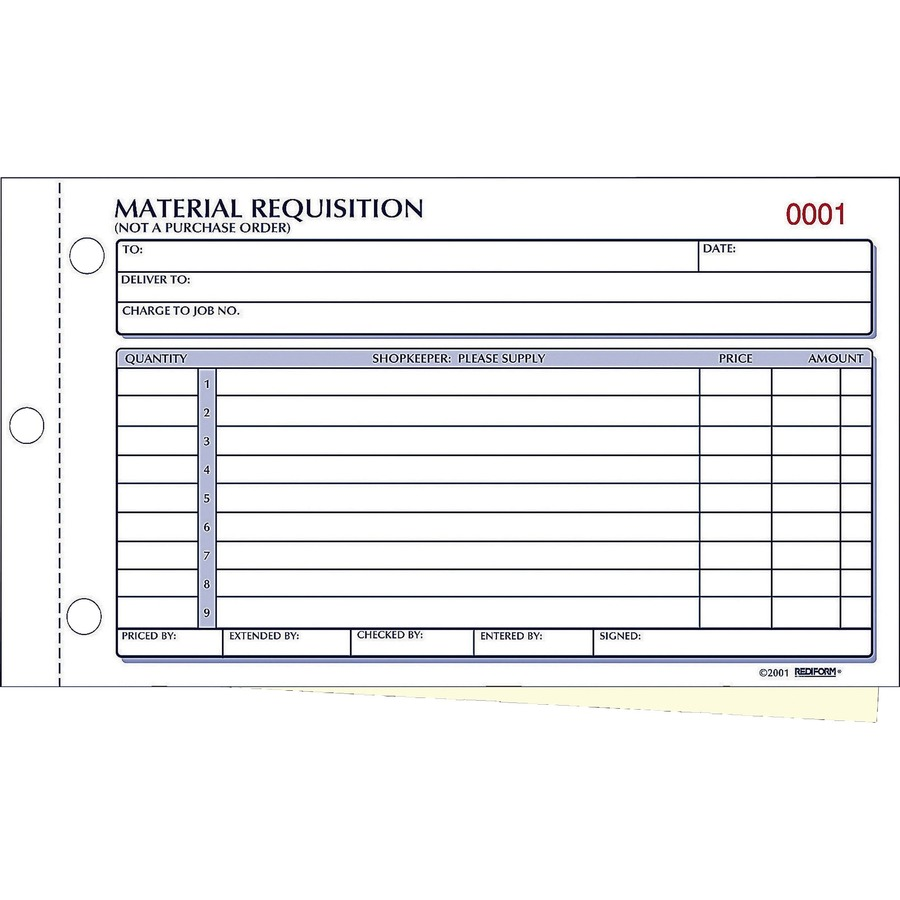 Rediform Material Requisition Purchasing Forms Office Supply America – Supply Request Form