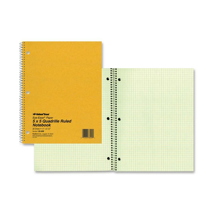 Rediform office products subject wirebound notebook wide - Rediform Green Eye Ease Spiralbound Quad Notebook Red33209