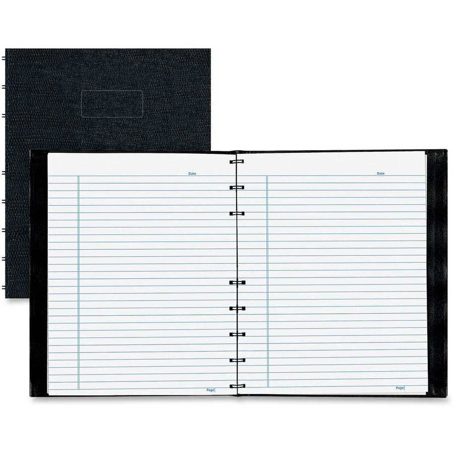 Rediform office products subject wirebound notebook wide - Rediform Notepro Twin Wire Composition Notebook 150 Sheets Twin Wirebound 7 1 4 X 9 1 4 White Paper Black Cover Lizard Micro Perforated