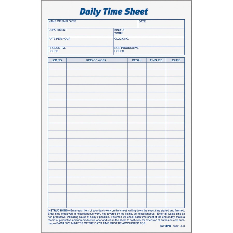 TOPS Daily Time Sheet Form - TOP30041 - SupplyGeeks.com