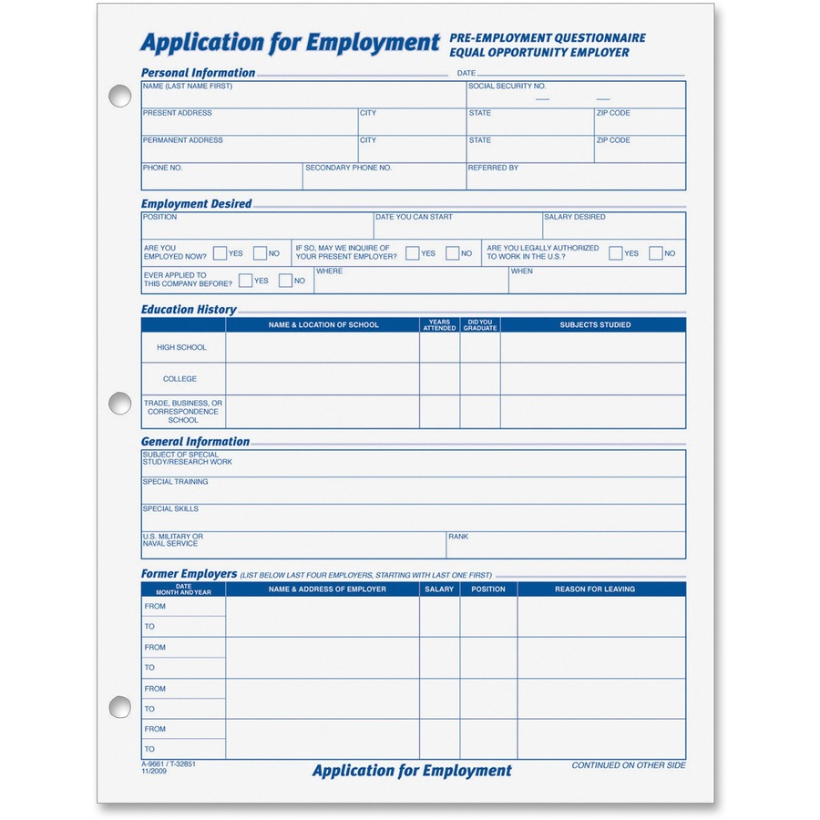 TOPS Employment Application Forms TOP32851
