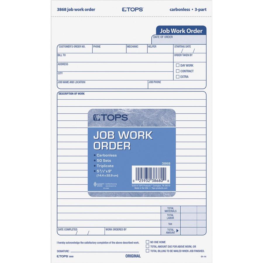 TOPS Carbonless 3 Part Job Work Order Forms TOP3868