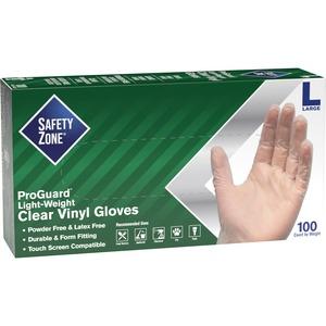 Safety Zone Powder Free Clear Vinyl Gloves