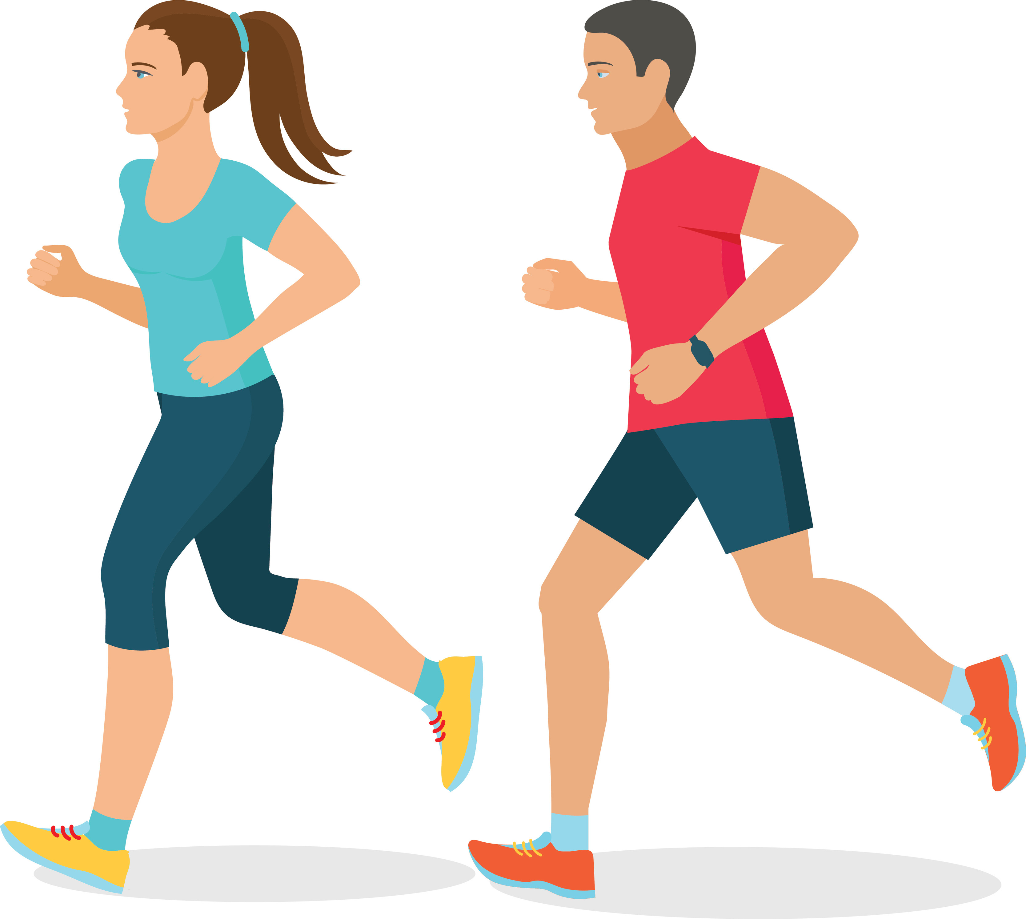 Man and woman running clipart