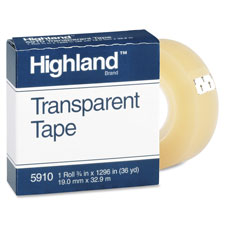"Transparent tape, 3/4""x2592, 3"" core, clear, sold as 1 roll"
