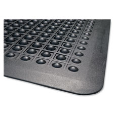 Anti fatigue mat, rubber, beveled edge, 3'x5', black, sold as 1 each