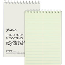 "Steno book,15 lb.,pitman ruled,80 shts,6""x9"",green tint, sold as 1 each"