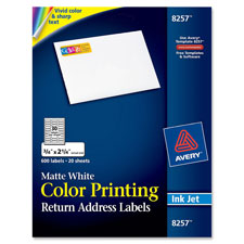 Avery Matte White Color Inkjet Printing Labels