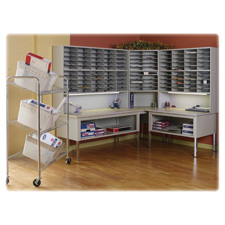 "Mayline Kwik-File Mailflow-To-Go Mailroom Corner Table - Square - 30"" x 30"" x 36"" - Steel - Pebble"