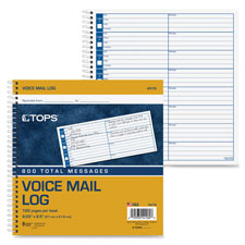Tops Spiral Bound Voice Message Log Book