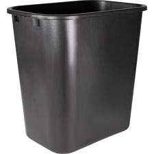 "Rectangular wastebasket, 28 qrt, 14-1/2""x10-1/2""x15"", bk, sold as 1 each"