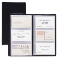 "Card holder,business,72-card cap,7-3/4""x4-3/8"",vinyl,black, sold as 1 each"