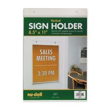 "Wall sign holder, vertical, 8-1/2""x11"", clear, sold as 1 each"