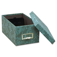 "Card file box, w/lid, 1000 card capacity, 4""x6"", agate green, sold as 1 each"