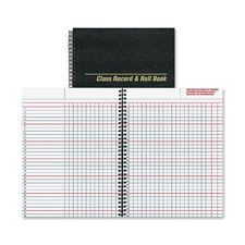 "Class record/roll book, 6/day,40 sheets, 11""x8-1/2"", black, sold as 1 each"