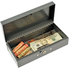 "Cash box, piano hinges,key entry,10-1/4""x4-3/4""x2-7/8"",gy, sold as 1 each"
