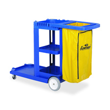 """Janitorial cart, w/ 25 gallon bag, 55""""x30""""x38"""", blue, sold as 1 each, 12 each per each"""