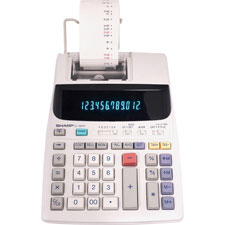 Sharp 12-Digit 2-Color Printing Calc. w/Prof Kybd