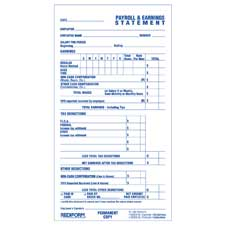 "Time/payroll records, 2-part, 3-3/4""x6-7/8"", 55/bk, white, sold as 1 each"