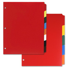 "Non-insertable poly indexes,3-hp,8-tab,11""x8-1/2"",multicolor, sold as 1 set"