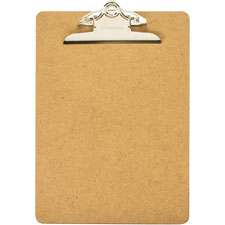"Hardboard clipboard, 1"" paper capacity, 9""x12-1/2"", brown, sold as 1 each"