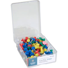 "Pushpins, 3/8"" point, 1/2"" heads, 100/bx, clear, sold as 1 box, 100 each per box"