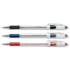 Ballpoint pen, fine point, pink ink/clear barrel, sold as 1 dozen, 2 each per dozen