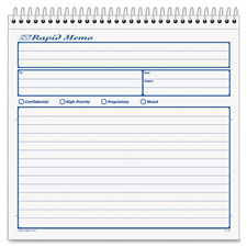 "Rapid memo book, carbonless, 2-part, 8-1/2""x7-3/4, sold as 1 each"
