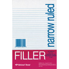 "Filler paper, narrow ruled, 8-1/2""x5-1/2"", 100 sh/pk, white, sold as 1 package"