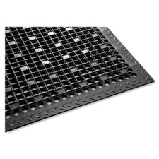 Utility mat,rubber,beveled edges,antimicrobial,3'x5',black, sold as 1 each