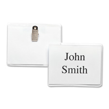 "Name badge kit,top loading,w/ clip,3""x4,50/bx,clear, sold as 1 box, 50 each per box"