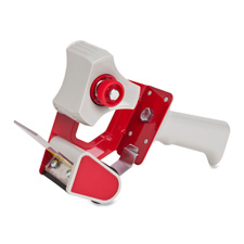 "Handheld tape dispenser, holds 3"" core tapes, red/gray, sold as 1 each"