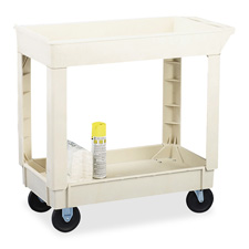 "2-shelf utility cart, 200lb cap, 34-3/8""x17-1/2""x33"", beige, sold as 1 each"