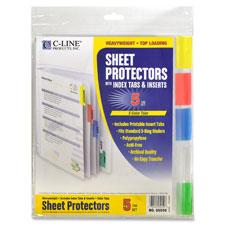 C-Line Top Loading Sheet Protectors w/Tab Inserts