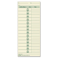 "Job cards, 3-1/2""x8-1/2"", 500/bx, green ink/manila paper, sold as 1 box, 500 each per box"