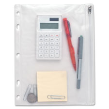 "Ring binder pocket,w/ zipper,vinyl,hole punched,9-1/2""x6"",cl, sold as 1 each, 500 each per each"