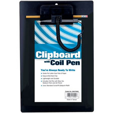 "Clipboard, w/ coil pen, refillable pen, 8-1/2""x11"", black, sold as 1 each"