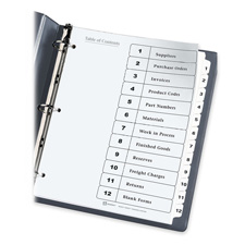 Avery Black & White Table of Contents Dividers