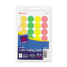 "Removable labels, 3/4"" round,1008/pk, neon ast, sold as 1 package, 1000 each per package"