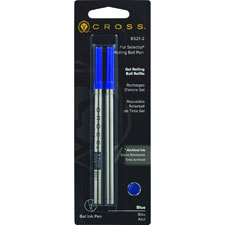 Selectip rollerball pen refill, medium, 2/pk, black ink, sold as 1 package