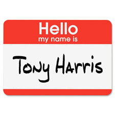 Avery Red Border Print or Write Name Badge Labels