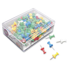 "Plastic push pins, 3/8"", assorted colors, 100/bx, sold as 1 box"