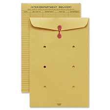 "Inter-department envelope, string closure, 10""x15"", kraft, sold as 1 box, 100 each per box"