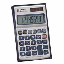 Sharp 8-Digit Handheld Solar Wallet Calculator