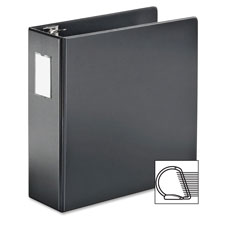 "D ring binder w/label holder, 3"" cap, 11""x8-1/2"", black, sold as 1 each"