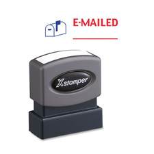 "E-mailed ink stamp, 1/2""x1-5/8"", blue/red ink, sold as 1 each"